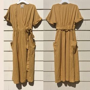 New UO Gabrielle Linen Wrap Midi Dress Yellow